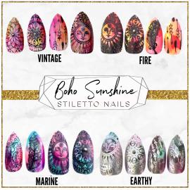 Boho Sunshine Nails in Stiletto