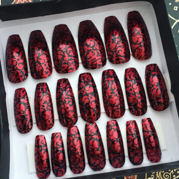 Red Gothic Baroque Press On Nails